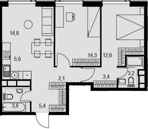 3Е-к.кв, 65 м², 28 этаж
