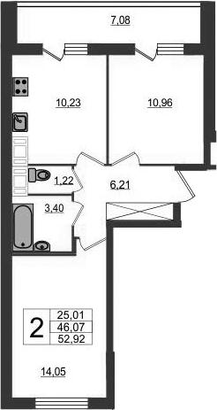 2-комнатная квартира, 46.07 м², 11 этаж – Планировка