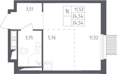 Студия, 24.54 м²– 2