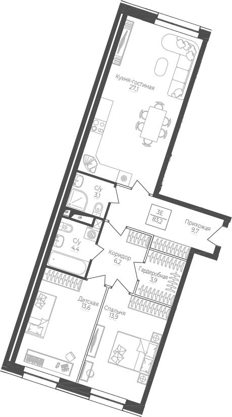 3Е-комнатная, 83.2 м²– 2
