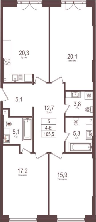 4-к.кв (евро), 105.5 м²