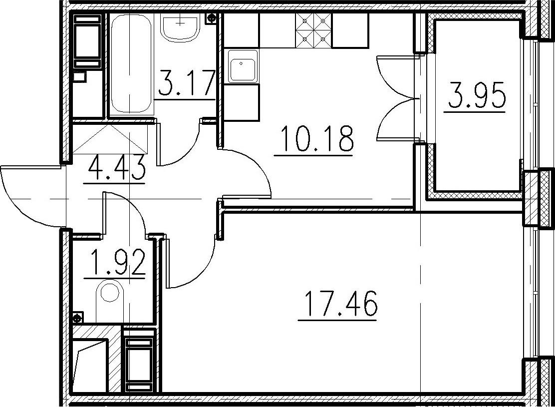1-комнатная, 37.16 м²– 2