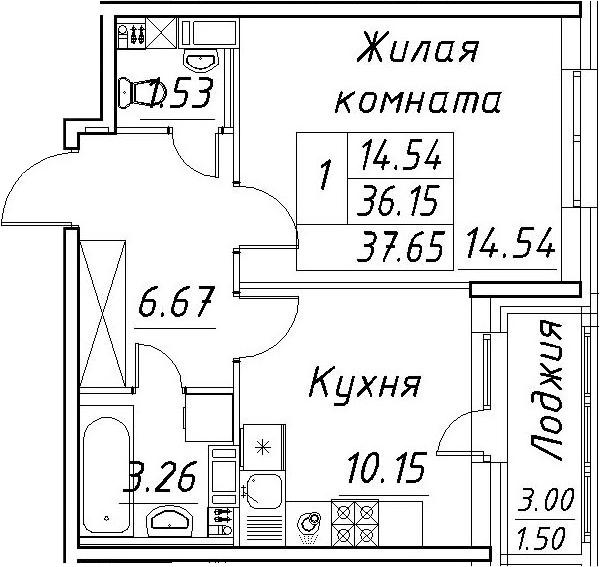 1-к.кв, 39.15 м²