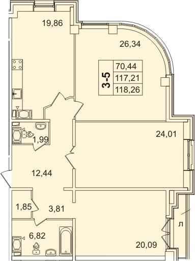 3-к.кв, 118.26 м²