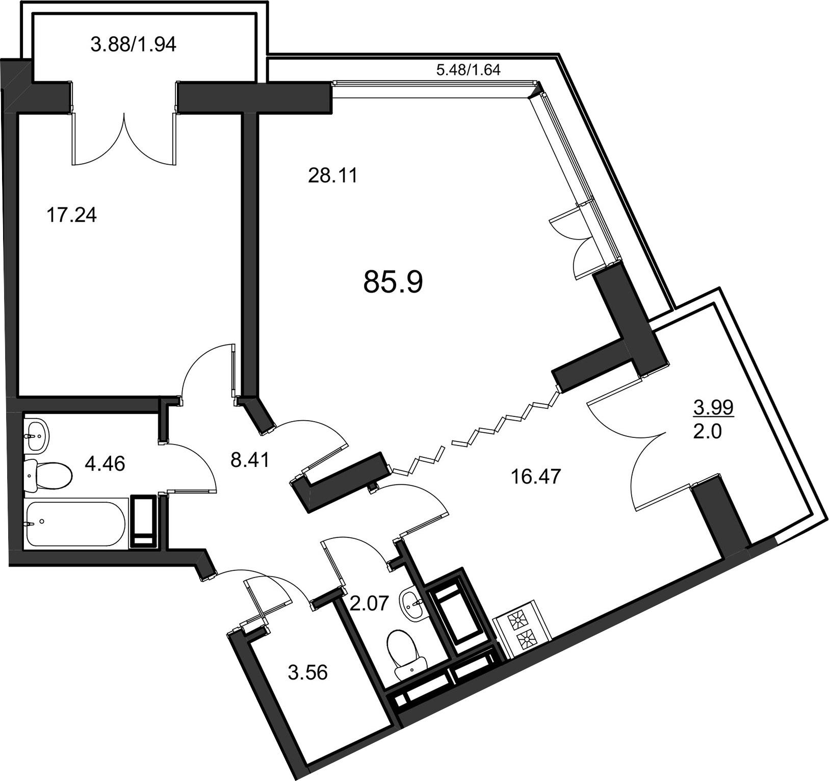 2-комнатная, 84.1 м²– 2