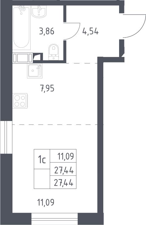 Студия, 27.44 м²– 2