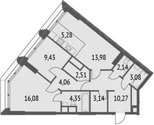 3Е-комнатная, 74.32 м²– 2
