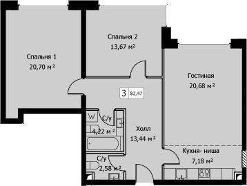 3-к.кв (евро), 82.47 м²