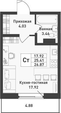 Студия, 26.87 м², 3 этаж – Планировка
