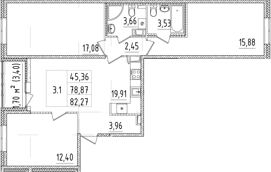 4Е-комнатная, 78.87 м²– 2