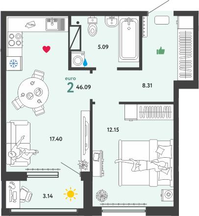 2Е-комнатная, 46.09 м²– 2