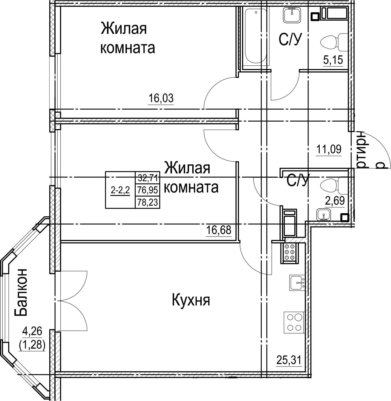 3Е-к.кв, 78.23 м²