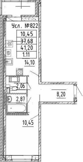 1-комнатная, 37.68 м²– 2