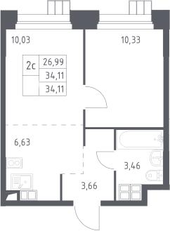 2Е-к.кв, 34.11 м², от 14 этажа