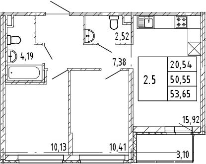 3Е-к.кв, 50.55 м², 2 этаж