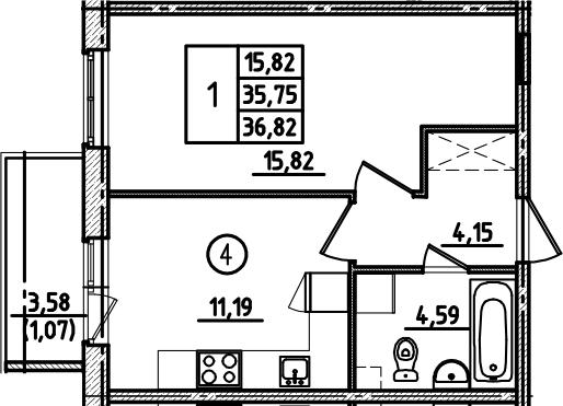1-к.кв, 36.82 м², 1 этаж