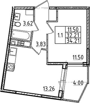 2Е-к.кв, 34.21 м²