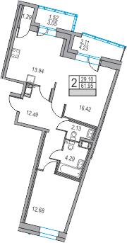 2-к.кв, 61.95 м²
