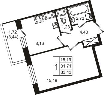 1-к.кв, 35.15 м²