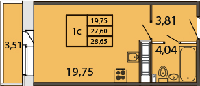 Студия, 31.04 м²