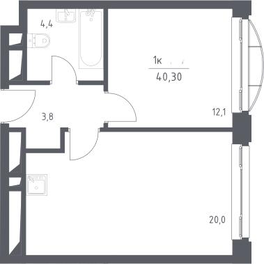 2Е-к.кв, 40.3 м², 24 этаж