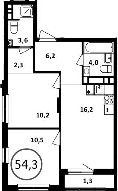 3-к.кв (евро), 55.6 м²