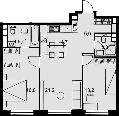 3Е-комнатная, 70.7 м²– 2