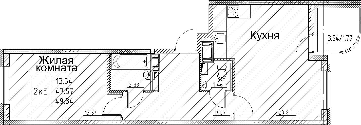 2-к.кв (евро), 51.11 м²