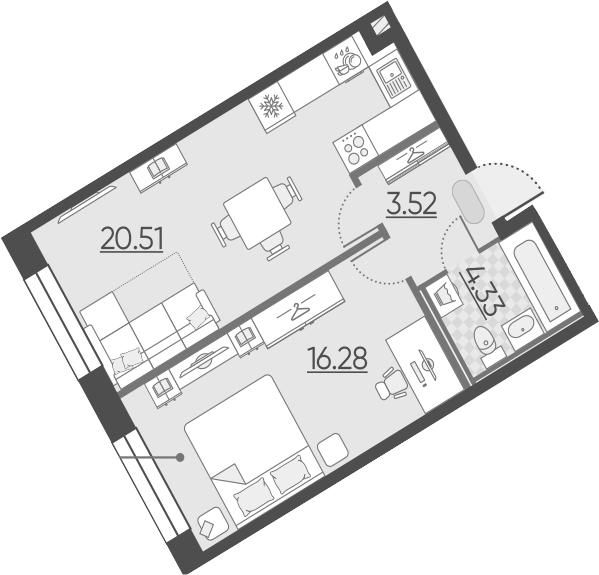 2-к.кв (евро), 44.64 м²