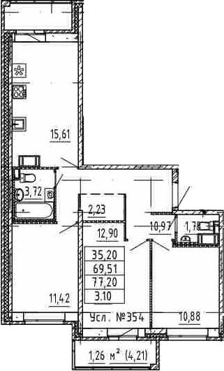 4-к.кв (евро), 77.2 м²