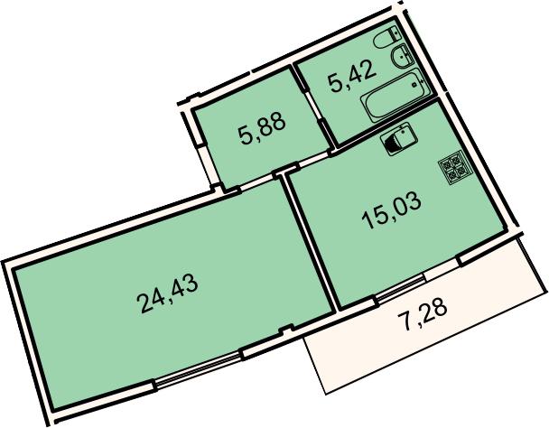 1-комнатная квартира, 53.4 м², 2 этаж – Планировка