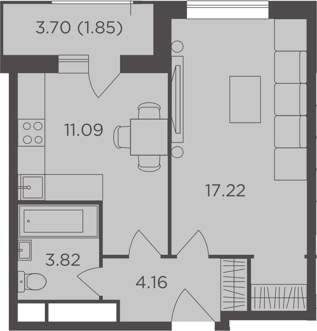 1-к.кв, 38.14 м², от 10 этажа