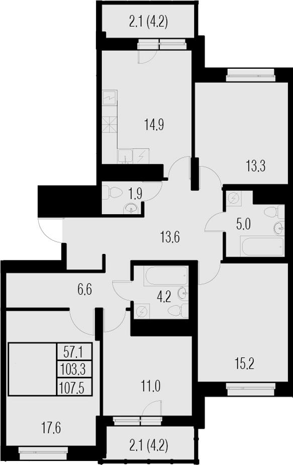 4-комнатная, 107.5 м²– 2