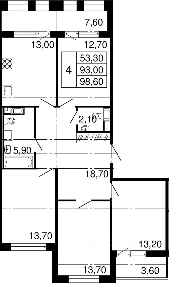 4-к.кв, 104.2 м²