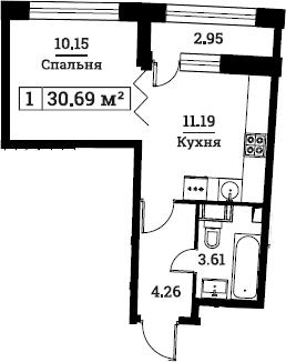 1-к.кв, 30.69 м², 2 этаж