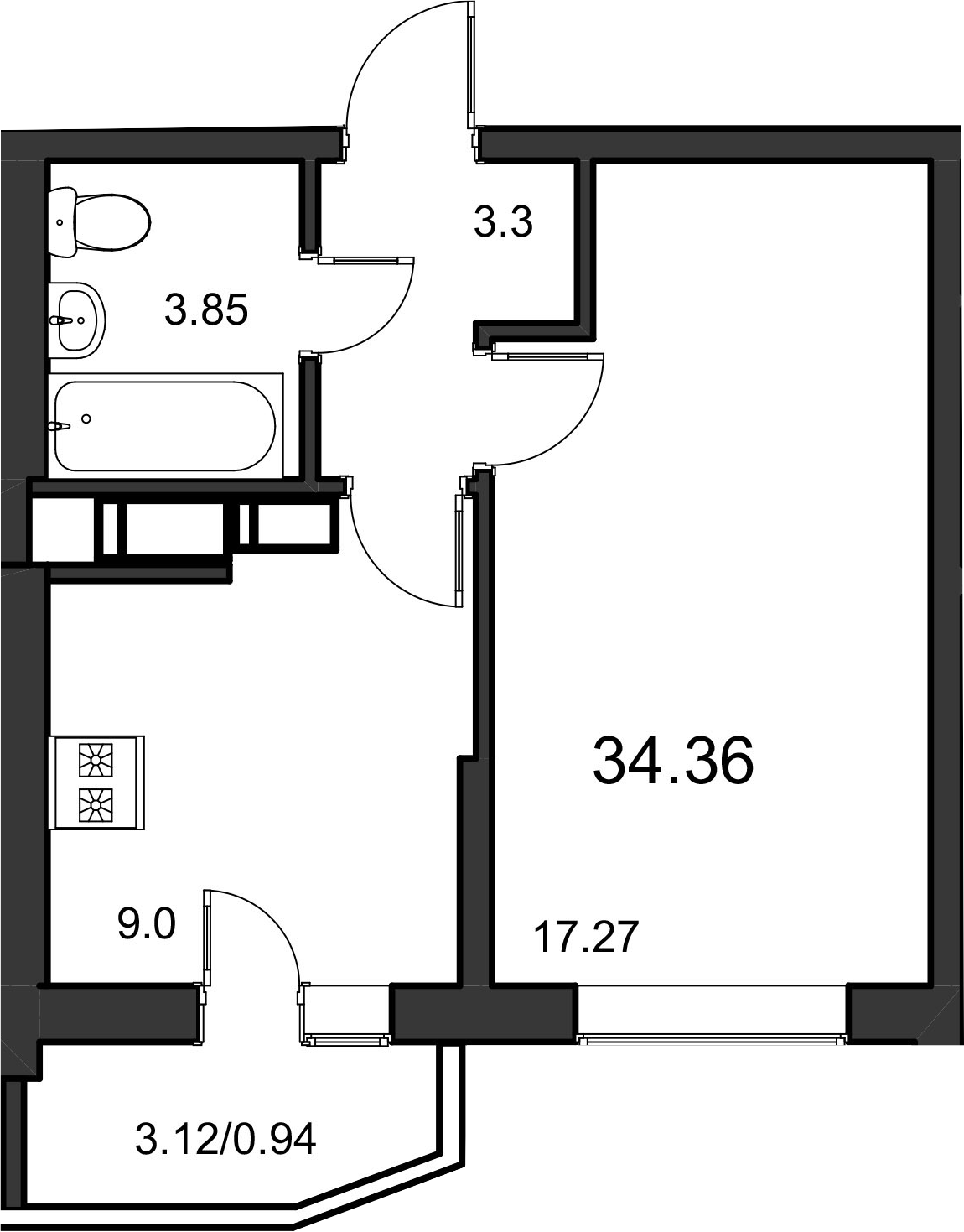 1-к.кв, 36.55 м²