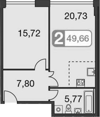 2-к.кв (евро), 48.61 м²