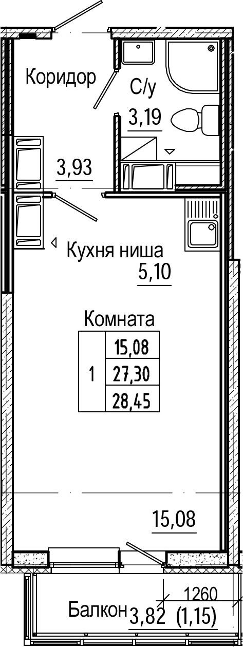 Студия, 28.45 м², 25 этаж