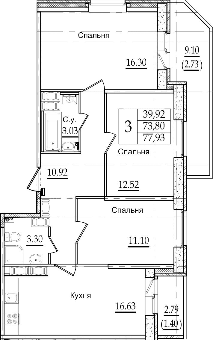 4Е-к.кв, 77.93 м², 22 этаж