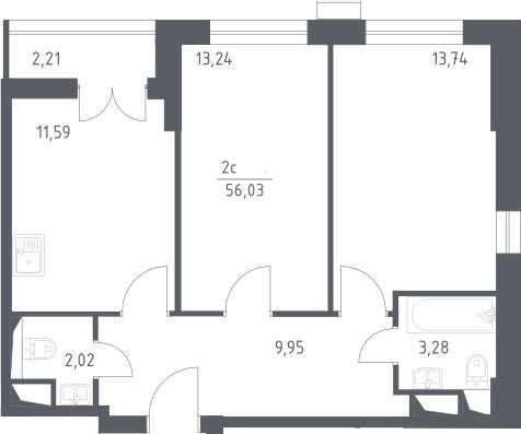 3Е-комнатная, 56.03 м²– 2