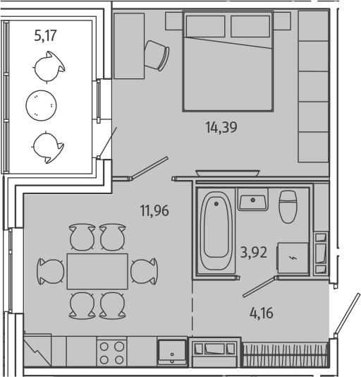 1-комнатная, 37.01 м²– 2