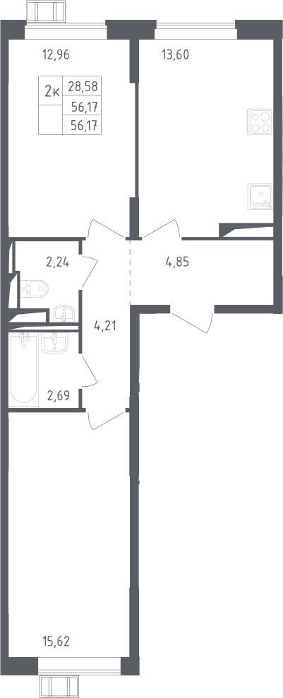2-к.кв, 56.17 м²