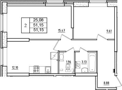 2-к.кв, 51.15 м²