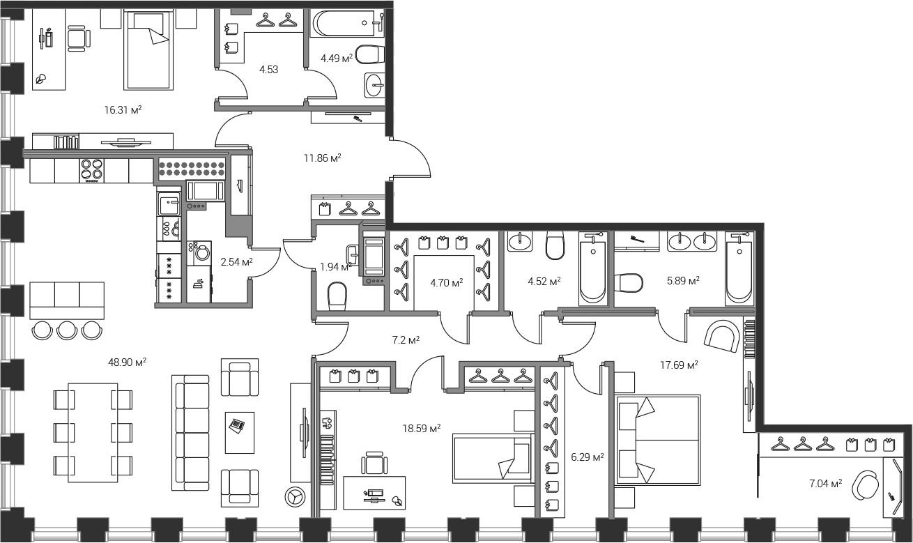 4Е-комнатная, 162.54 м²– 2