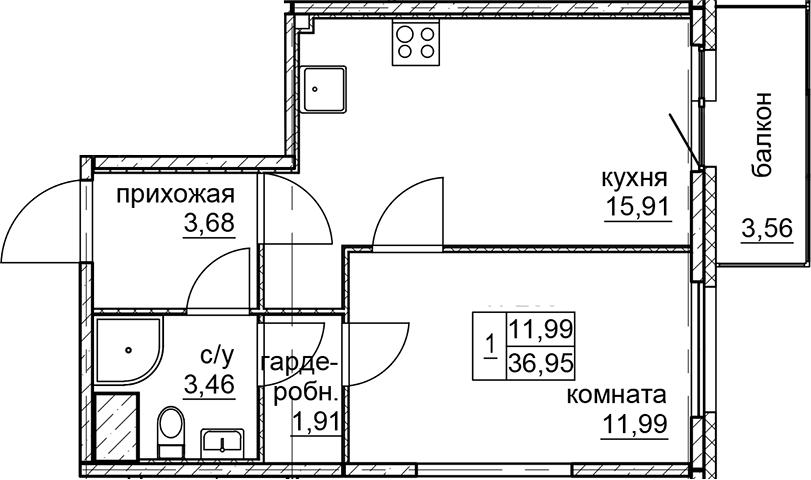2Е-к.кв, 36.95 м²