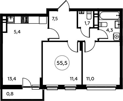 3Е-комнатная, 55.5 м²– 2