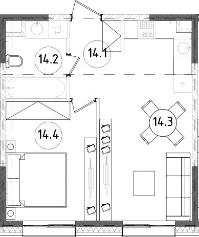 2Е-к.кв, 39.14 м²