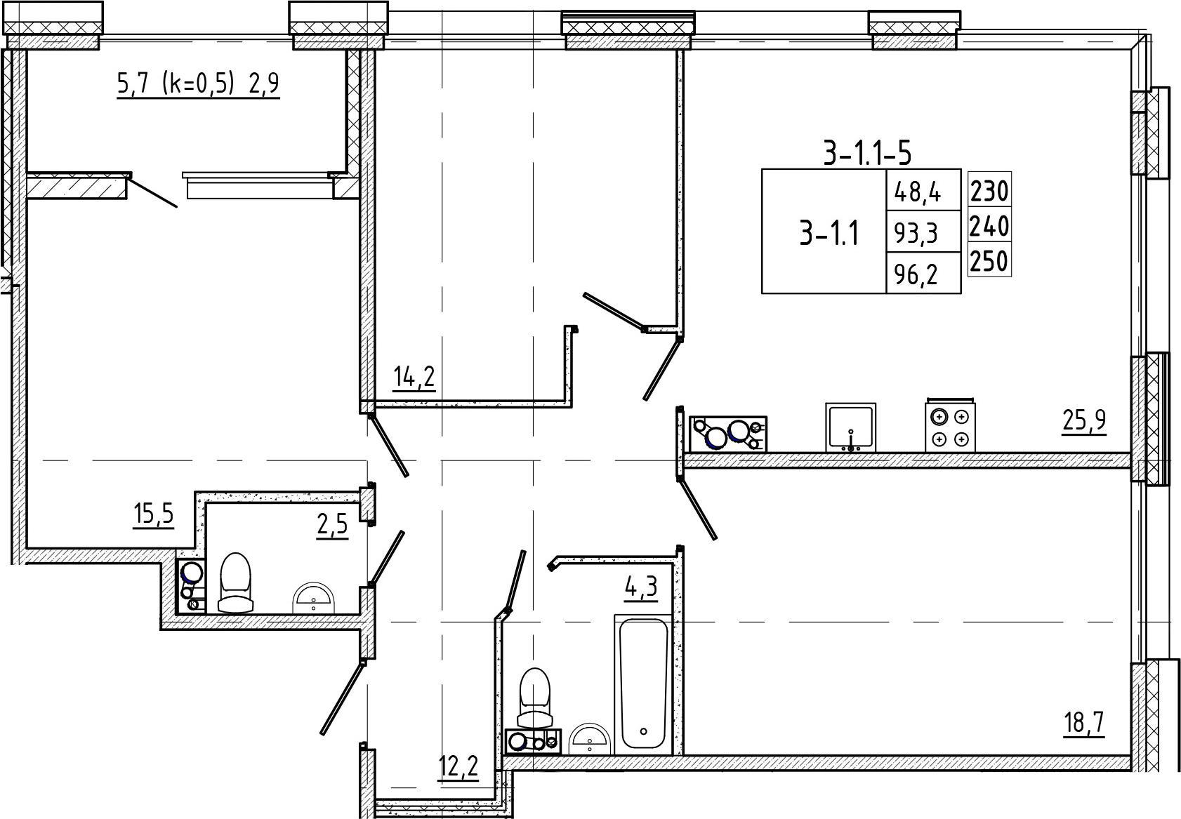 4Е-к.кв, 96.2 м², 8 этаж