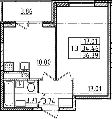 1-к.кв, 34.46 м²