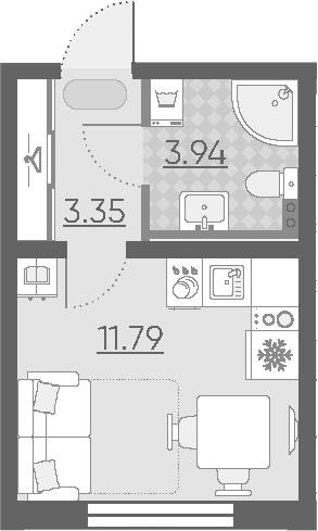 Студия, 19.08 м²